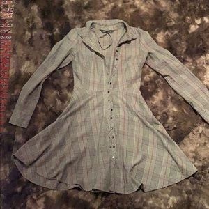 Zara Gray Plaid Button-Up Dress